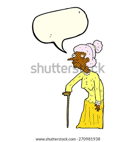 cartoon old woman with speech bubble - stock vector