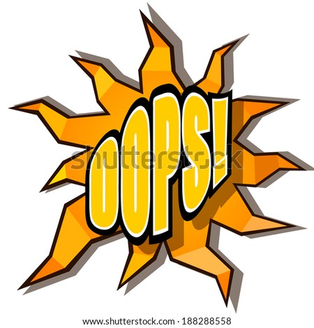 Cartoon oops with rays - stock vector
