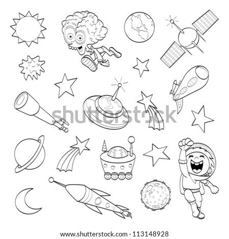 Cartoon outer space set (coloring book) - stock vector