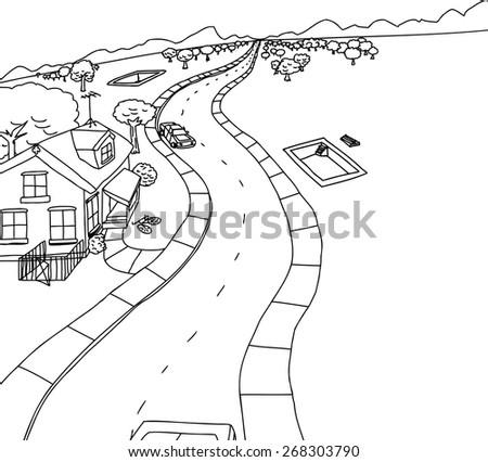 Cartoon outline housing construction scene near mountains - stock vector
