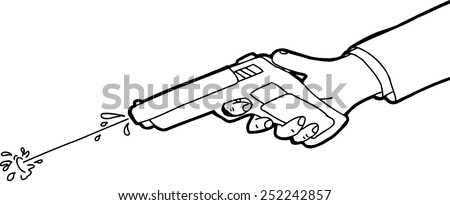 Cartoon outline of hand shooting squirt gun