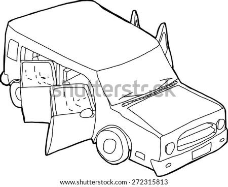 Cartoon Outline Suv Open Doors On Stock Vector