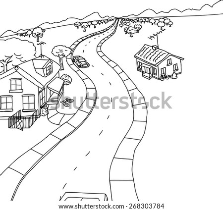 Cartoon outline scene of cars on road with homes - stock vector
