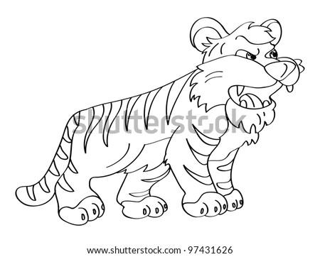 Illustration Cartoon Tiger Coloring