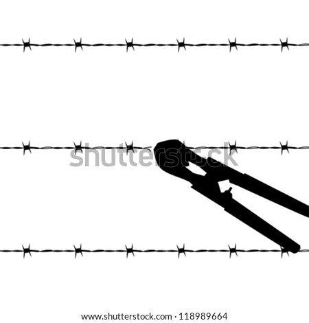 Cartoon outline vector illustration showing a barbed wire fence being cut by wire cutters - stock vector