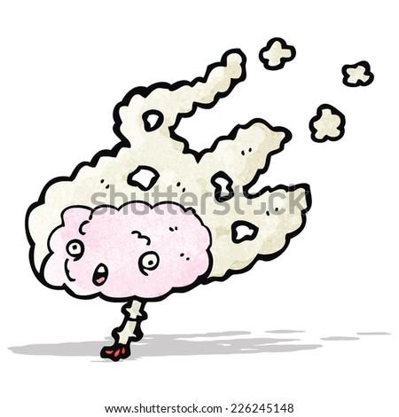 cartoon overheated brain - stock vector