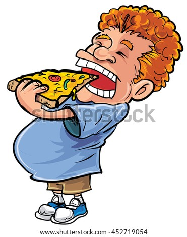 Cartoon overweight man eating pizza. He has red hair