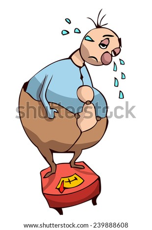 Cartoon Overweight Sad Person Standing on a Scale Crying, Vector Illustration isolated on White Background. - stock vector