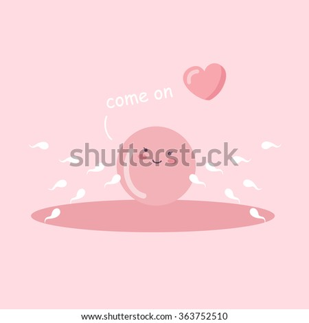 cartoon ovum and sperm with love heart, great for Pregnancy Concept - stock vector