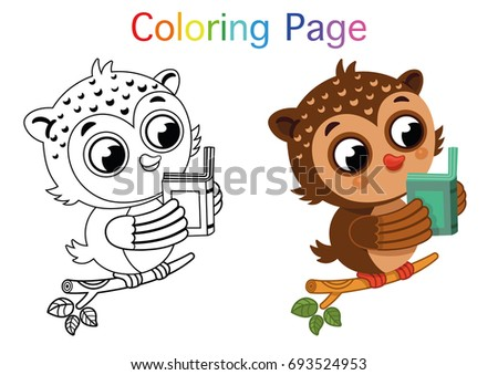 Cartoon Owl For Coloring Page Activity Vector Illustration