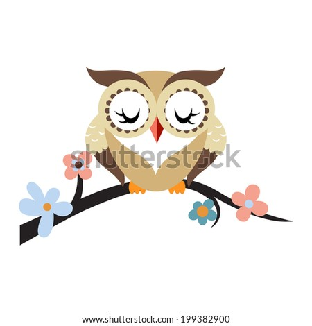 Cartoon owl on a flowering tree branch - stock vector