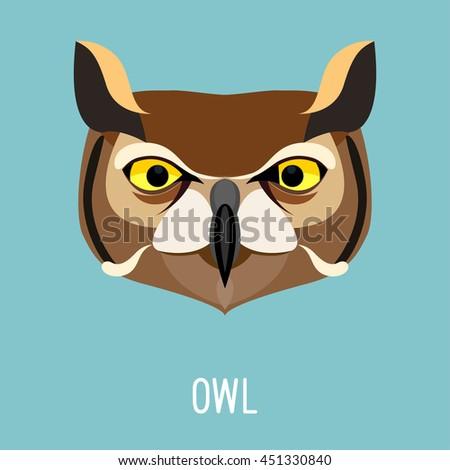Cartoon owl portrait.  - stock vector