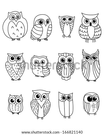 Cartoon owls and owlets birds isolated on white background - stock vector