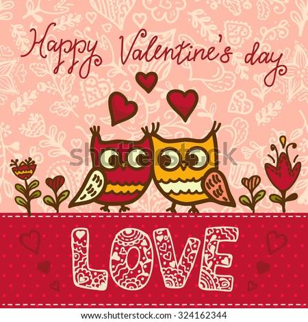Cartoon owls birds pattern background. Valentines Day design. - stock vector