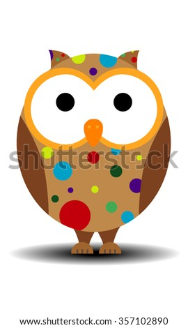 Cartoon owls with blobs. - stock vector