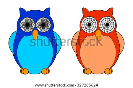 Cartoon owls with hypnotic eyes. Vector illustration.
