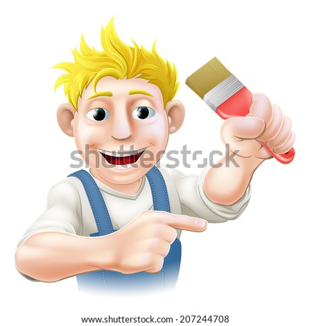 Cartoon painter or decorator holding a paintbrush and pointing with his finger - stock vector