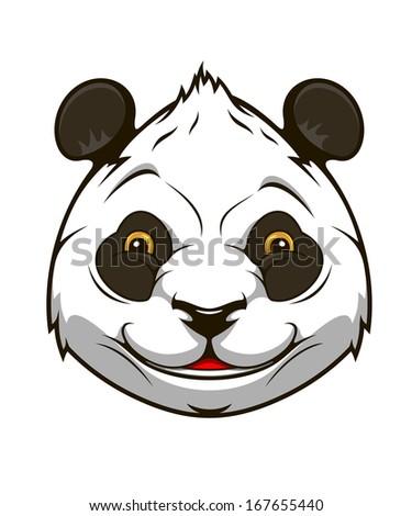 Cartoon panda bear head for mascot  design - stock vector
