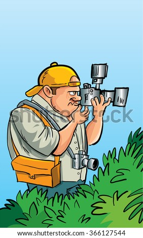 Cartoon paparazzi photographer hiding in the bushes