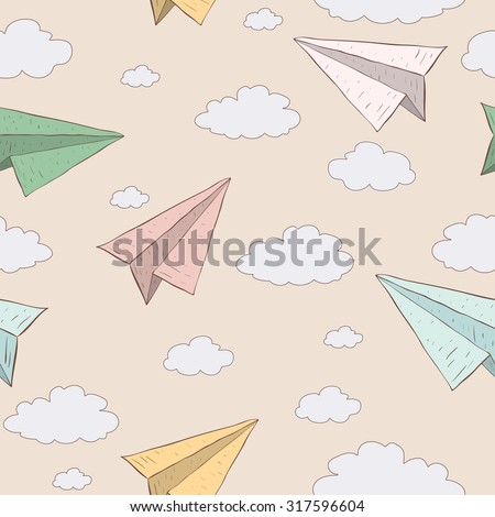 Cartoon paper plane in the sky. Vector seamless baby pattern. Texture paper plane on vanilla background - stock vector