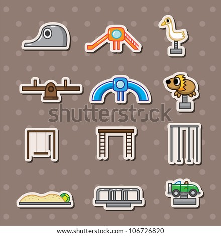 cartoon park playground stickers - stock vector