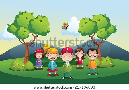 Cartoon park  vector illustration with kids boys and girls - stock vector