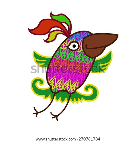 Cartoon parrot. Cheerful flying colorful bird. Bird on isolated background. Eps 8 - stock vector