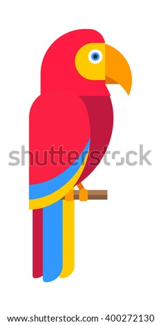 Cartoon parrot wild animal parrot bird. Tropical parrot feather zoo bird, tropical fauna parrot flying ara. Cartoon exotic parrot bird vector illustration. Parrot vector - stock vector