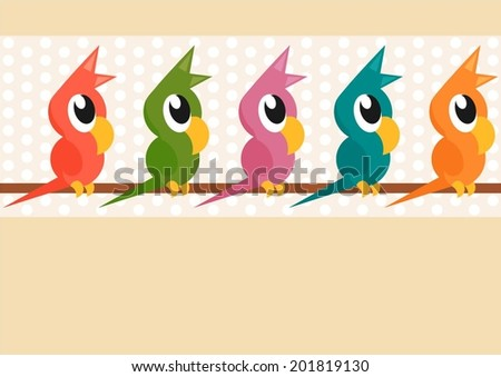cartoon parrots standing on a branch - stock vector