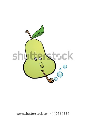 Cartoon pear face, smoking a bubbling pipe - stock vector