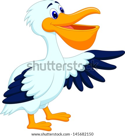 Cartoon pelican presenting with his wing - stock vector
