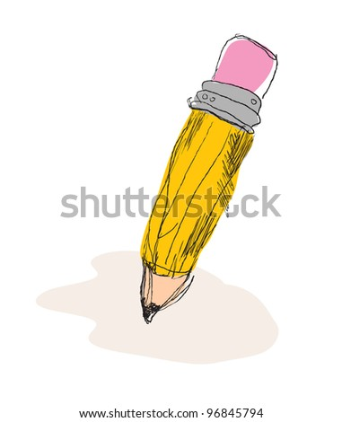 Cartoon pencil, free hand drawing style, original design - stock vector