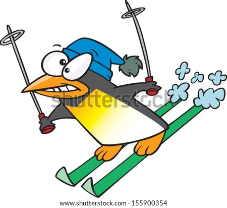 Cartoon penguin downhill skiing