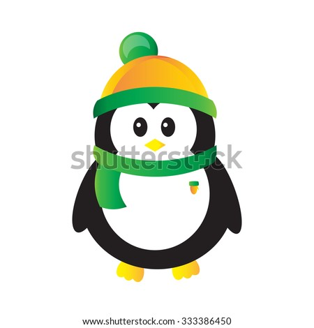 Cartoon penguin in scarf and hat isolated on white background - stock vector