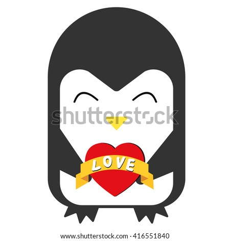 Cartoon penguin smiling and keeps the heart. Vector flat illustration. - stock vector