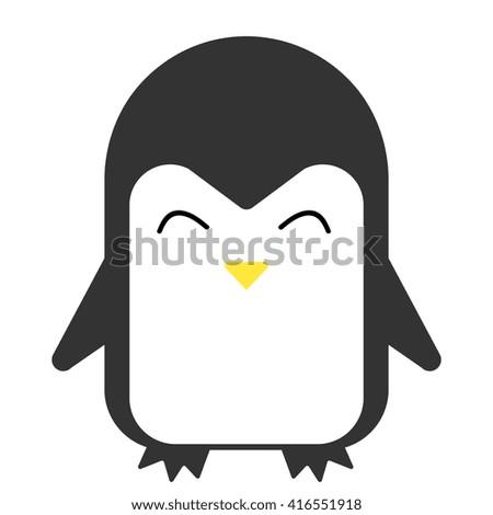 Cartoon penguin smiling  vector flat illustration. - stock vector