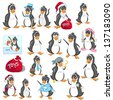 Cartoon Penguin Vector Illustration Set - stock vector