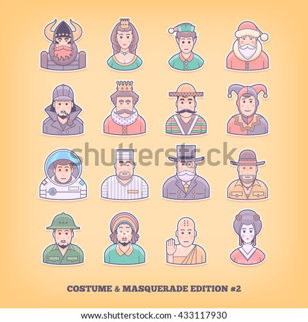 Cartoon people icons. Costume playing, uniform, masquerade suit design elements. Flat concept vector illustration.