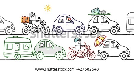 cartoon people in a summer traffic jam - stock vector
