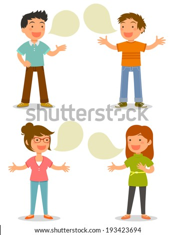 cartoon people talking happily - stock vector