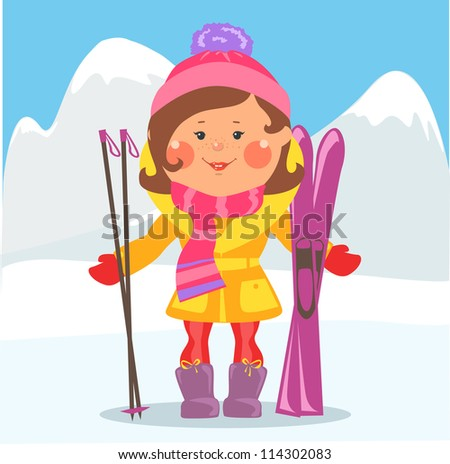 Cartoon people, Winter holidays , Girl with skis