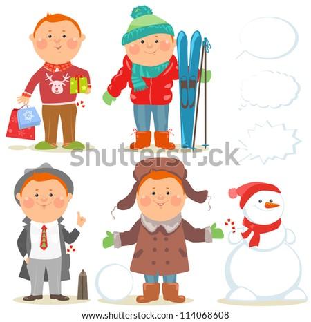Cartoon people, Winter holidays set, Red hair guy - stock vector