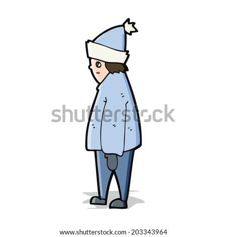 cartoon person in winter clothes - stock vector