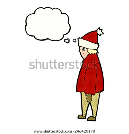 cartoon person in winter clothes with thought bubble - stock vector