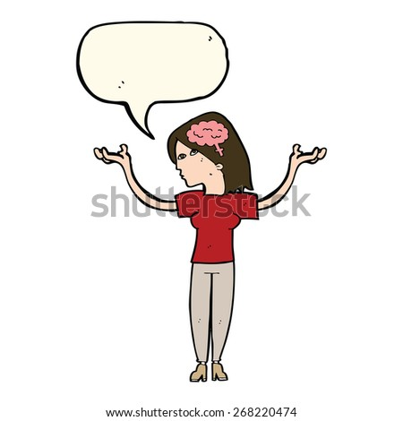 cartoon person with speech bubble and brain symbol - stock vector