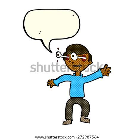 cartoon person with word balloon - stock vector