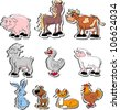 Cartoon pets, living on a farm - stock