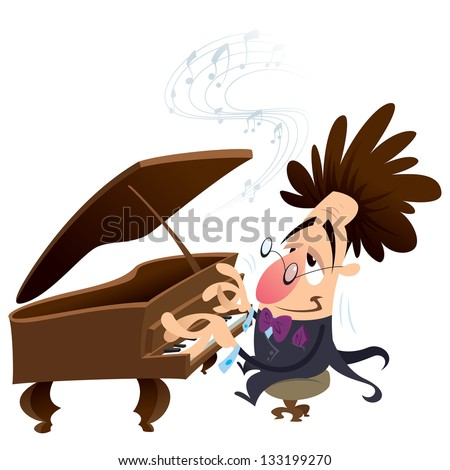 Cartoon pianist with crazy hair while performing - stock vector