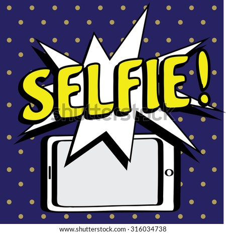 cartoon picture- phone, flash and inscription Selfie, vector illustration