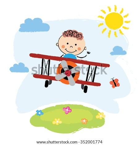 Cartoon pilot boy on a airplane flying over green hill - stock vector